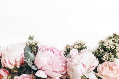Wall mural Decorative web banner made of beautiful pink peonies, rosies and eucalyptus isolated on white background. Feminine floral frame composition. Styled stock photo.Empty space. Flat lay, top view.