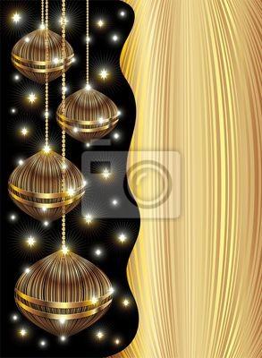 Decorazioni Oro Natale Sfondo-Golden Christmas Background