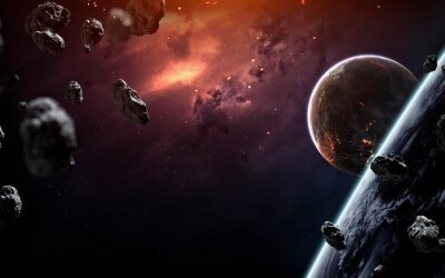 Wall mural Deep space planets, science fiction imagination of cosmos landscape. Elements of this image furnished by NASA