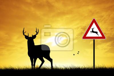 Wall mural deer crossing