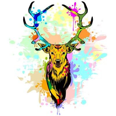 Wall mural Deer PopArt Dripping Paint