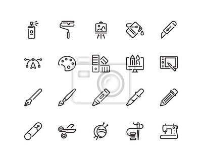 Wall mural Design and craft icon set, outline style