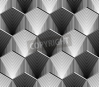 Wall mural Design seamless monochrome hexagon geometric pattern. Abstract striped zigzag background. Vector art. No gradient