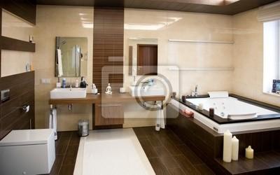 Designer bathroom with a modern tub