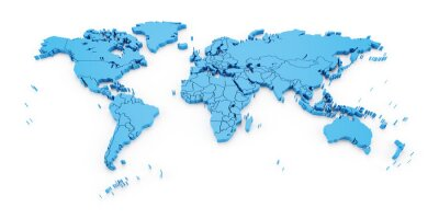 Wall mural Detail world map with national borders, 3d render