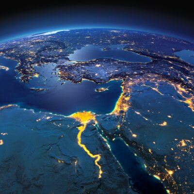 Wall mural Detailed Earth. Africa and Middle East on a moonlit night