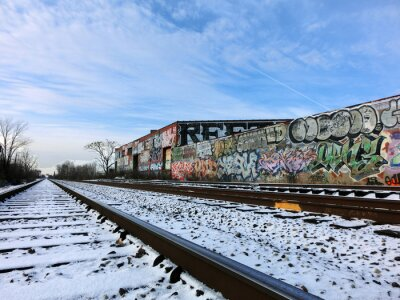 Wall mural Detroit, Michigan train tracks and snow - landscape color photo