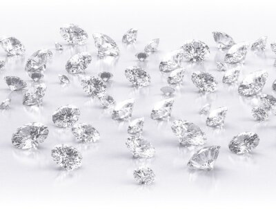 Wall mural diamonds large group on white background