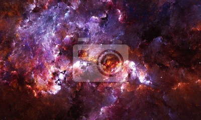 Wall mural Digital abstract painting of a galaxy nebula with stars in space.