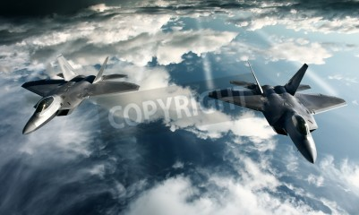 Wall mural Digital imaging of Military plane doing a flight in high attitude