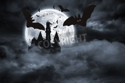 Wall mural Digitally generated Bats flying from draculas castle
