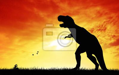 Dinosaurs at sunset