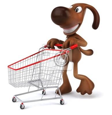 Dog goes shopping