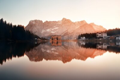 Wall mural Dolomites sunrise reflection