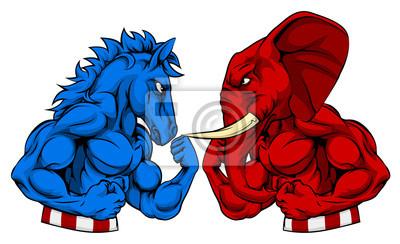 Donkey vs Elephant Politics American Election Concept