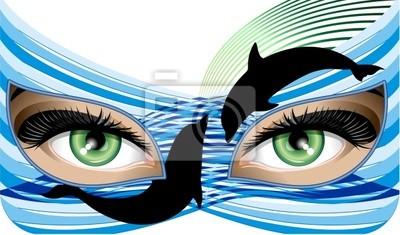 Donna con Maschera di Acqua-Water Mask Woman-Vector