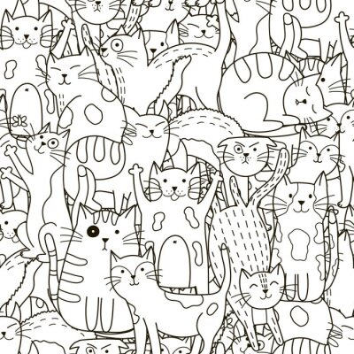 Wall mural Doodle cats seamless pattern. Black and white cute cats background