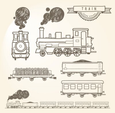 Wall mural Doodle train. EPS8.