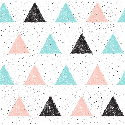 Wall mural Doodle triangle seamless background. Black, blue and pink triang