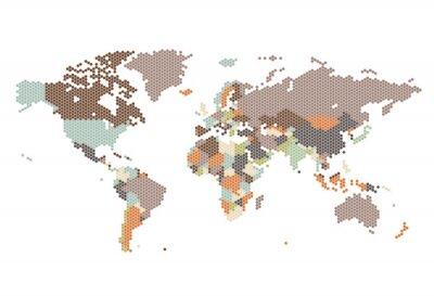 Wall mural Dotted World map of hexagonal dots