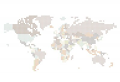 Wall mural Dotted World map of square dots