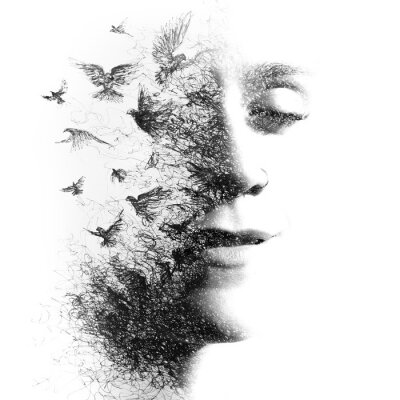 Wall mural Double Exposure portrait of an elegant woman with closed eyes combined with hand made pencil drawing of a flock of birds flying freely resembling disintegrating particles of her being, black