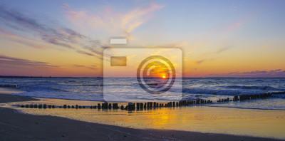 dramatic, red sunset over the sea, Baltic Sea, Poland