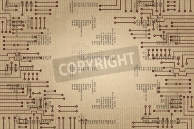 Wall mural Drawing modern electronic circuit and  binary code