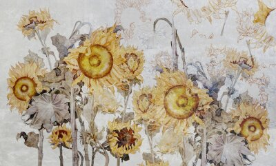 Wall mural Drawing of sunflowers, illustration of flowers. Flowers for wallpaper, photo wallpaper, mural, card, postcard. Beautiful wallpaper design.