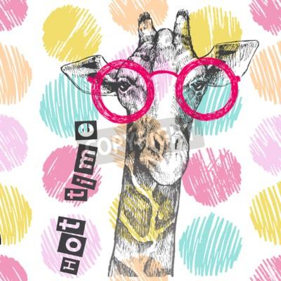 Wall mural Drawn by hand giraffe. Bright giraffe glasses - hipster. Hot time. Summer print on clothing, shoes, T-shirt, raglan. Vector