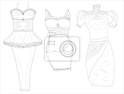 dresssketches of stylish women's dresses pencil