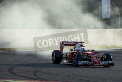 Wall mural Driver Sebastian Vettel. Ferrari. Formula One Test Days at Circuit de Catalunya. Montmelo, Spain. March 2, 2016