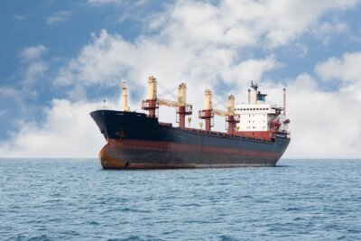 Wall mural Dry cargo ship floating on the sea