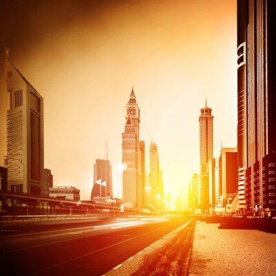 Wall mural Dubai city in sunset
