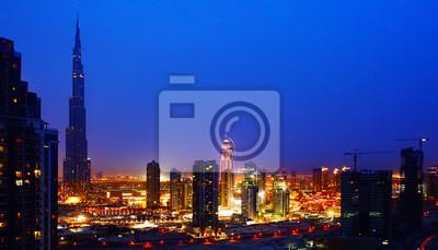 Wall mural Dubai downtown at night