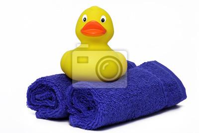 duck on bath towels