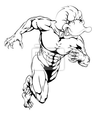 Duck sports mascot sprinting