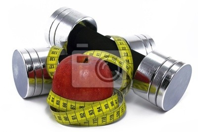 dumbbell with apple