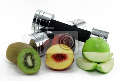 dumbbell with fruits