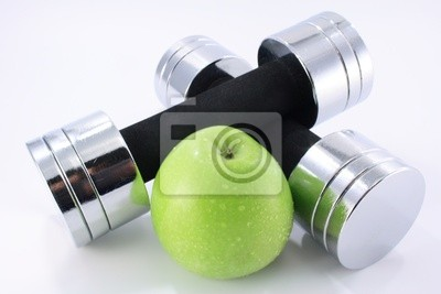 dumbbells with apple