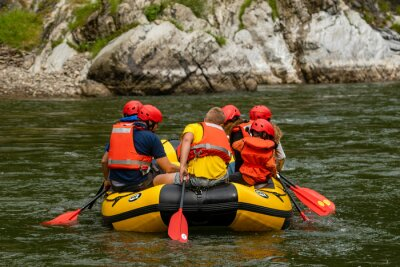 Dunajec gorge, Sromowce, Spisz, Poland-July 2019: rafting in pontoons of the Dunajec gorge, which is a tourist attraction of this area
