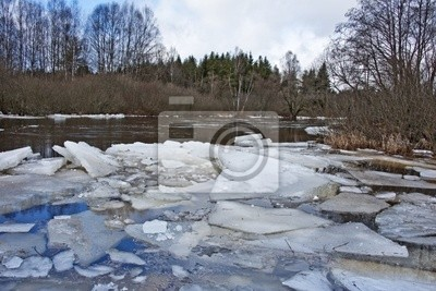 early spring - river with a flying ice