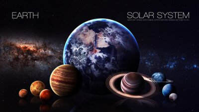 Wall mural Earth - 5K resolution Infographic presents one of the solar system planet. This image elements furnished by NASA