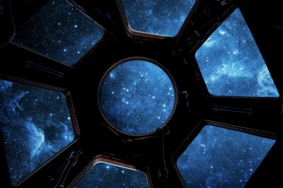 Earth and star in spaceship window porthole. Elements of this image furnished by NASA