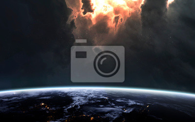 Earth planet. Awesome science fiction render. Elements of this image furnished by NASA