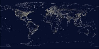 Wall mural Earth's city lights political map