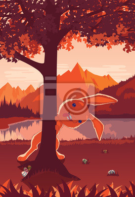 Wall mural Easter card in a flat style. Funny Easter Bunny peeking out from behind a tree.