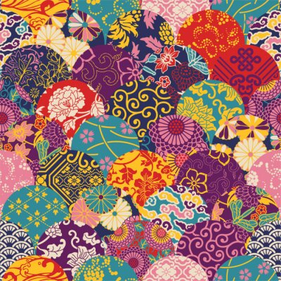 Wall mural Eastern style fabric patchwork, vector seamless pattern