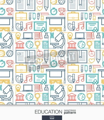 Wall mural Education wallpaper. School and university connected seamless pattern. Tiling textures with thin line integrated web icons set. Vector illustration. Abstract elearning background for mobile app