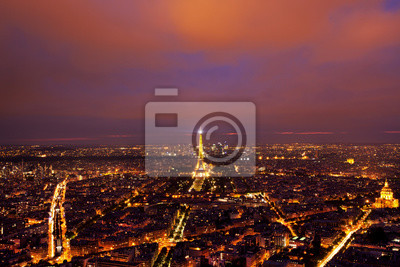 Wall mural Eiffel Tower view from above after sunset
